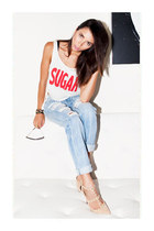 bracelet - jeans - sunglasses - bra - stud heels heels