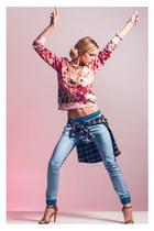 bracelet - shirt - pants - necklace - heels - sweatshirt
