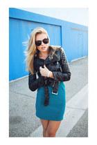 jacket - dress - metal inset sunglasses - wedges - bracelet
