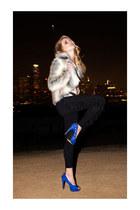 ring - fur faux coat - suede fringe leggings - spiked leather belt - heels - top