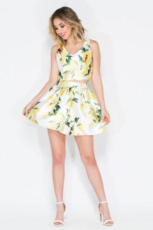 top - skirt - heels