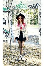 OASAP jacket - Dr Martens boots - Missguided hat - asos top - pull&bear skirt