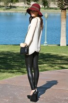 maroon felt Roxy hat - black wedge Aldo Shoes shoes