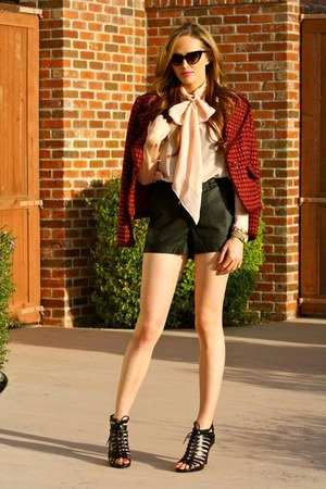 black leather Forever 21 shorts - maroon tweed tory burch jacket