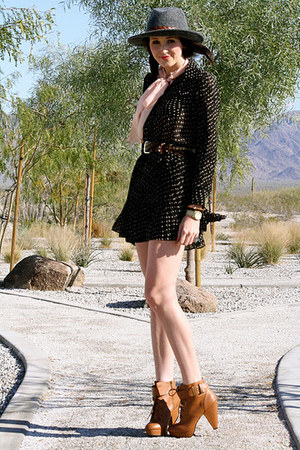 bronze buckle Urban Outfitters boots - black polka dot Divaz Boutique dress
