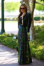 navy maxi EShakit skirt - black leather LC by Lauren Conrad jacket