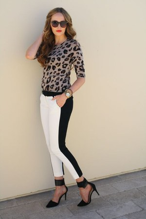 white tuxedo Target pants - brown leopard Old Navy sweater