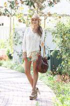 free people sweater - Melissa Odabash hat - oryany bag - Alice  Olivia shorts