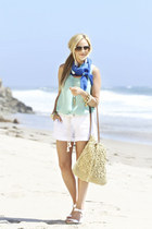 Echo Bold scarf - Michael Stars shirt - Straw Studios bag - Michael Stars shorts