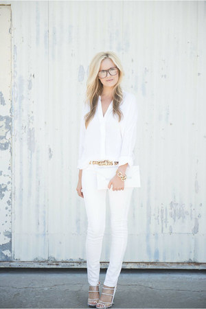white vince shirt - white asos bag - white asos pants - asos glasses