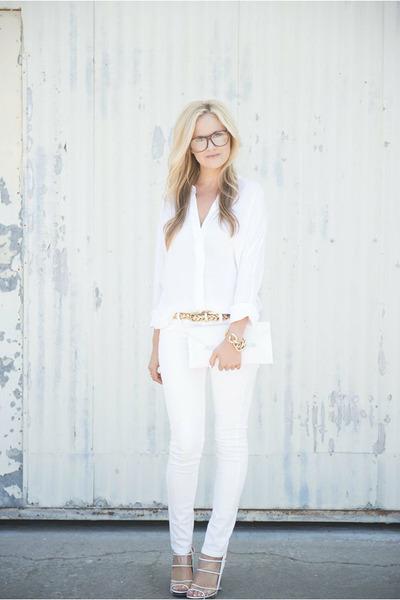 white vince shirt - white asos bag - white asos pants - asos glasses