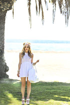light pink Nasty Gal socks - white nightcap dress - white deux lux bag