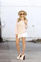 free people hat - free people shorts - free people blouse - Nasty Gal heels