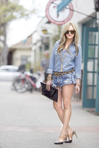 Halogen bag - J Crew shirt - One Teaspoon shorts - Sabre sunglasses