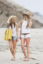 brown Bernardo sandals - camel Flora Bella hat - white Patrons of Peace shirt