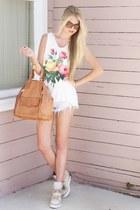 white Wildfox t-shirt - bronze Rebecca Minkoff bag