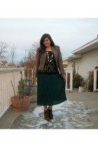teal thrifted dress - light brown Korean Corner blazer