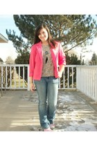 hot pink Worthington blazer - American Rag jeans - bubble gum Air Walk sneakers
