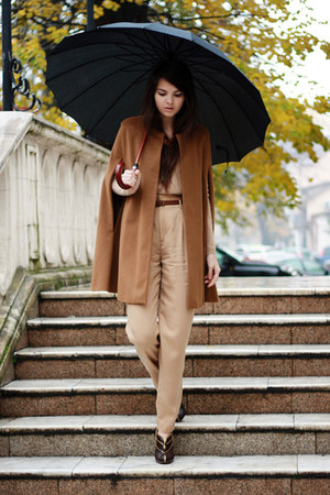 camel cashmere Zara cape - golden brown armani boots