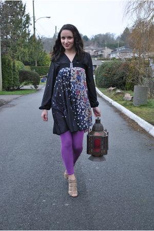 purple leggings - beige GoJane shoes - blue dress
