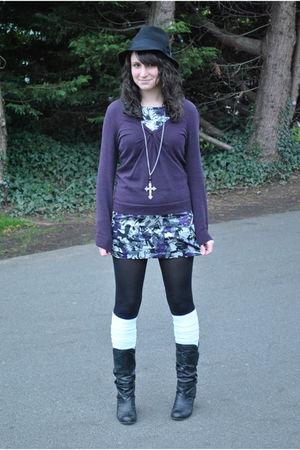 black le chateau hat - purple Gap sweater - purple Smart Set dress - black We Lo