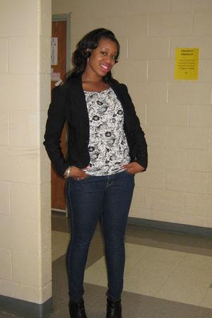 black Macys blazer - white Urban Outfitters blouse - Forever 21 jeans - black bo