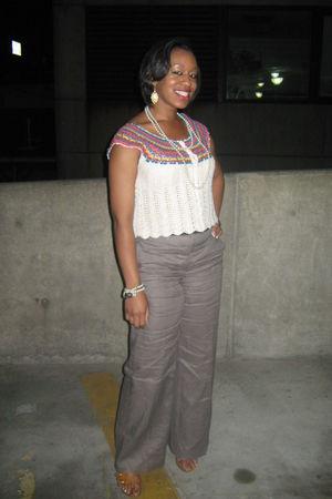 white H&M blouse - gray H&M pants - beige Spring shoes