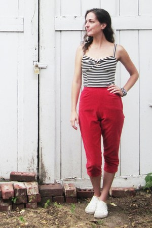 red vintage pants - white Rocket Dog shoes - black Kimchi Blue top