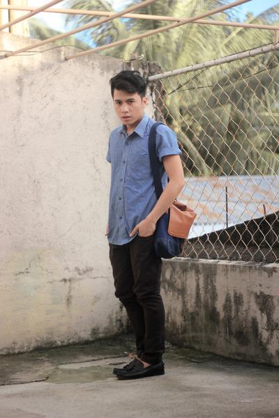 navy Regatta bag - black Payless shoes - blue denim shirt - dark gray H&M pants
