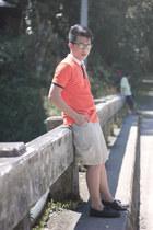 carrot orange Regatta shirt - black sperry shoes - nude H&M shorts