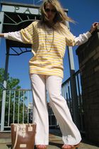 white Victorias Secret pants - beige mandees shoes - beige Dooney and Bourke pur