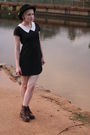 Brown-dr-martens-boots-black-unknown-dress-black-vintage-hat