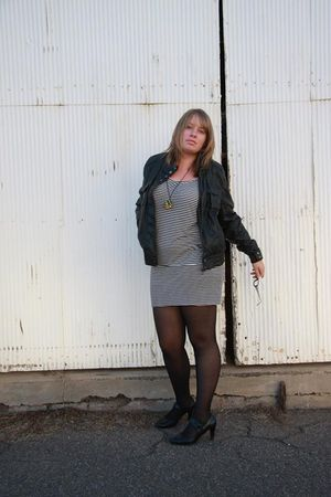 gray Dotti dress - black tights - black Kmart shoes - black Glassons jacket - bl