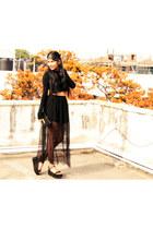 sheer H&M skirt - Zara shoes - crop top Zara top