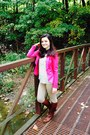 Brown-aldo-boots-hot-pink-forever-21-blazer