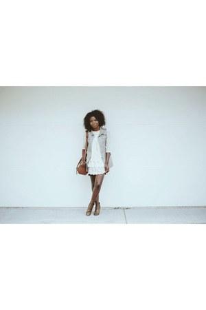 brown brown booties boots - ivory H&M dress - brown messenger bag bag