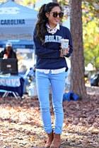 navy Carolina shirt - brown ankle boots Bluetique Cheap Chic boots