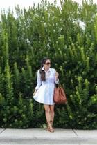 brown madewell bag - white Sheinside dress - brown Schutz sandals
