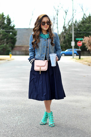 navy midi eShakti skirt - white striped Impressions Boutique shirt