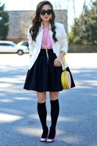 white Bluetique Cheap Chic blazer - light yellow Lulus bag - black Brynnie skirt