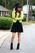 lime green Zara jacket - black booties Impressions Boutique boots
