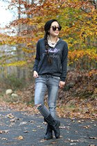 gray sweater ByLucianaM shirt - black combat boots UrbanOG boots