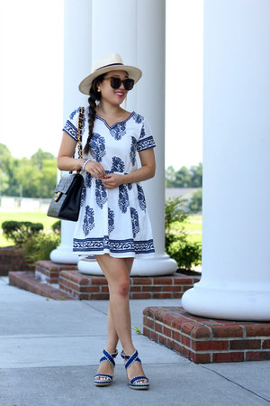 white Sheinside dress - eggshell Forever 21 hat - black Chanel bag
