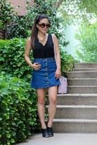 navy denim Sheinside skirt - black American Eagle shoes - light pink Prada bag