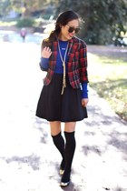 black Forever 21 dress - blue Forever 21 sweater - red plaid Forever 21 blazer