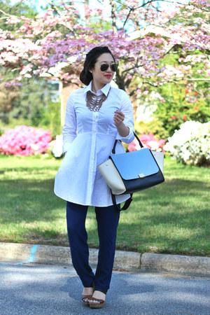 white shirt dress Sheinside dress - sky blue Celine bag