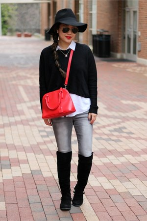 black knit Blush Boutique sweater - black Boohoo boots - black Forever 21 hat