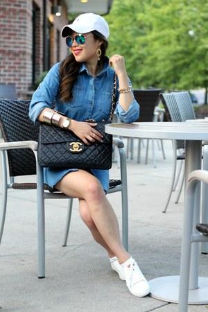black Chanel bag - blue denim zaful dress - white H&M sneakers