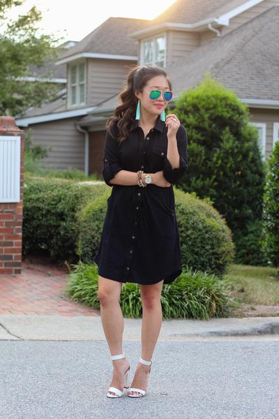 black LuLus dress - aquamarine LuLus earrings - white LuLus heels
