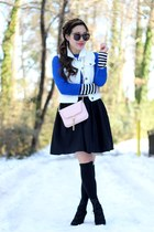 black Brynnie skirt - blue Forever 21 sweater - brown Karen Walker sunglasses